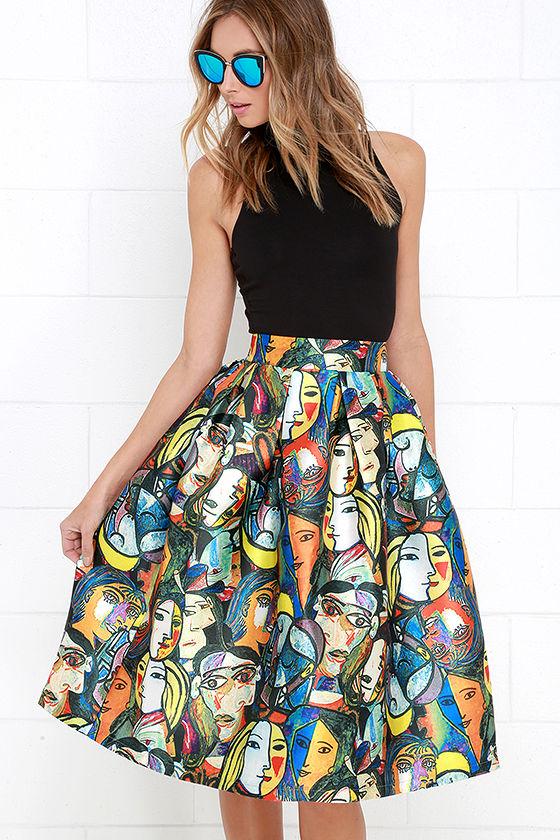 Cool Multicolored Print Skirt - Midi Skirt - Graphic Print Skirt ...
