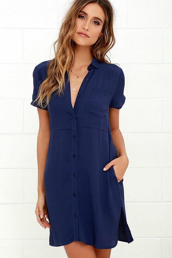 Cute Navy Blue Dress - Shirt Dress - Shift Dress - $58.00