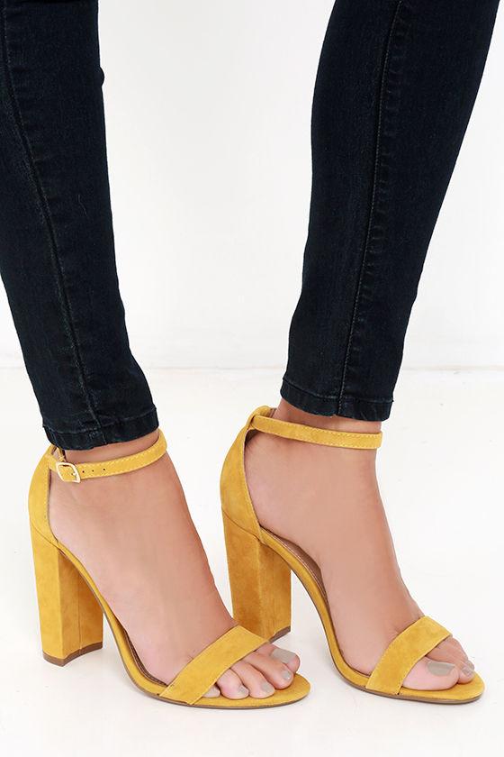 b30ff0f8b43 Cute Yellow Heels - Suede Heels - Ankle Strap Heels -  89.00