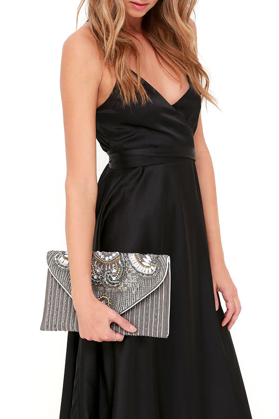 Constantinople Gunmetal Beaded Clutch 1