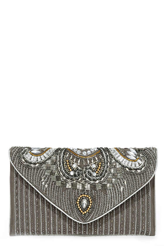 Constantinople Gunmetal Beaded Clutch 2