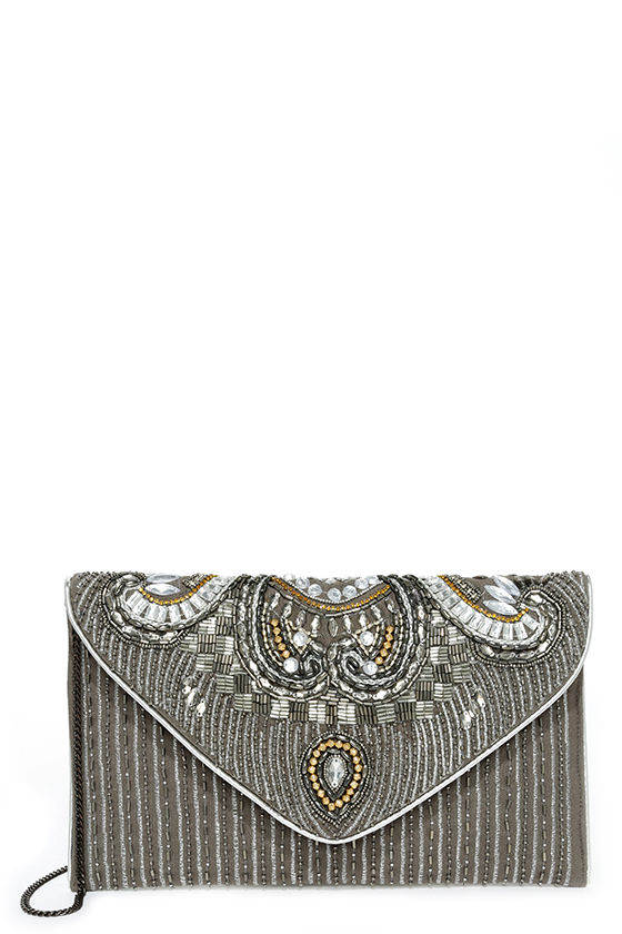 Constantinople Gunmetal Beaded Clutch 3