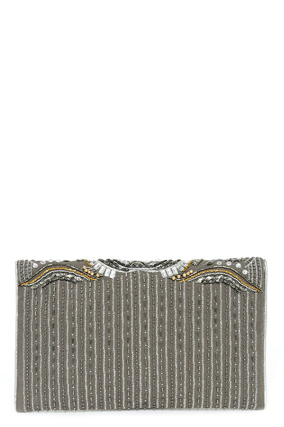 Constantinople Gunmetal Beaded Clutch 5