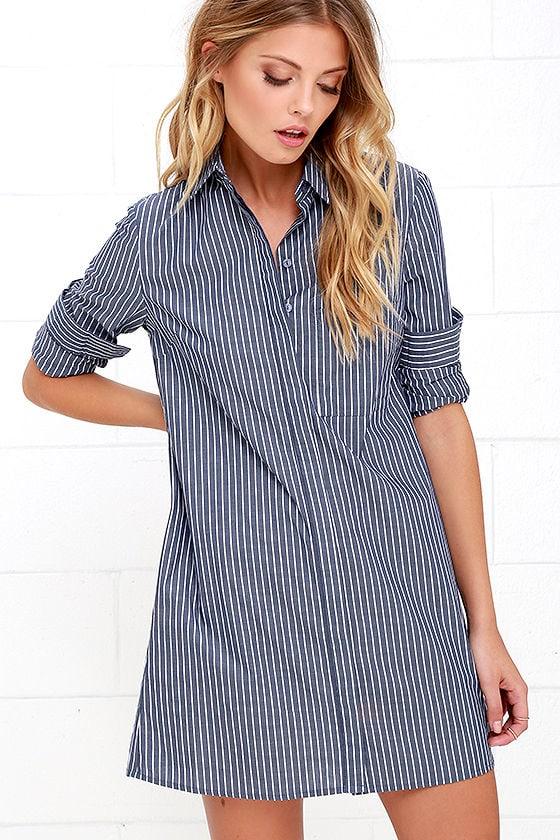 Cute Blue Dress Shirt Dress Striped Dress 46 00