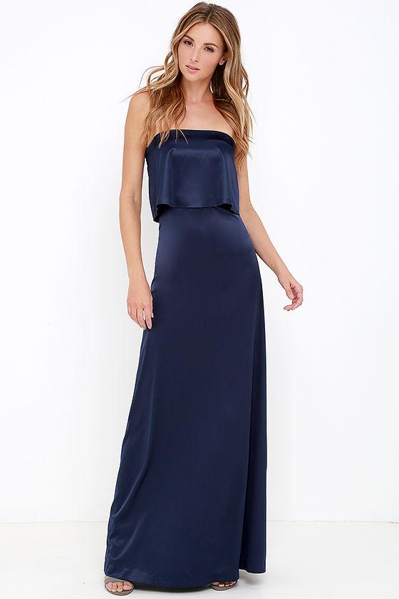 Lovely Navy Blue Maxi Dress - Strapless Maxi Dress - Satin Dress ...
