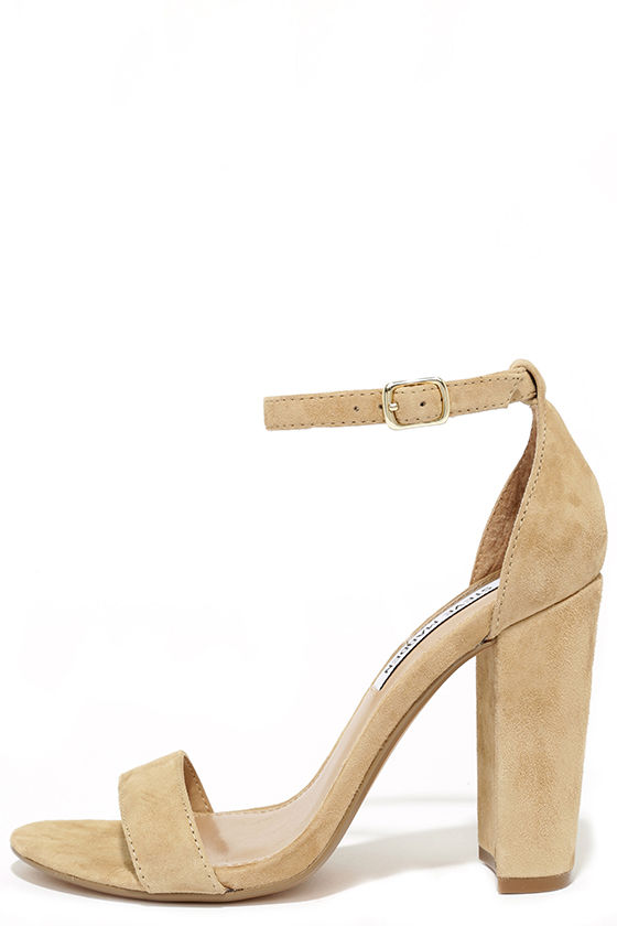 a965bcda8b0 Steve Madden Carrson Sand Suede Leather Ankle Strap Heels