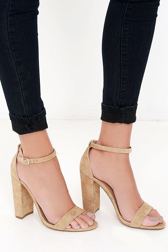 Cute Sand Heels - Suede Heels - Ankle Strap Heels - $89.00