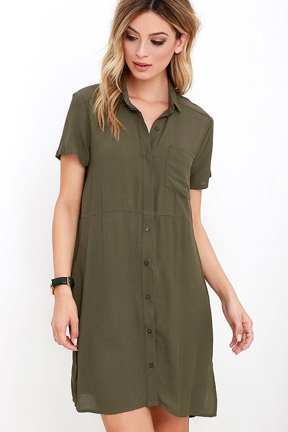 7d79152714d2 Cute Olive Green Dress - Shirt Dress - Shift Dress -  58.00