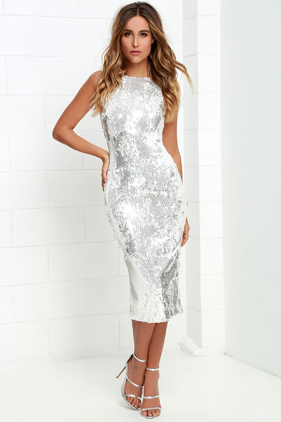 Dress The Population Audrey White And Silver Dress
