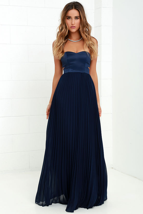 Moment in Time Navy Blue Strapless Maxi Dress