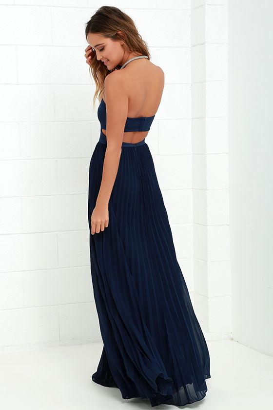 Navy Strapless Maxi Dress - Missy Dress