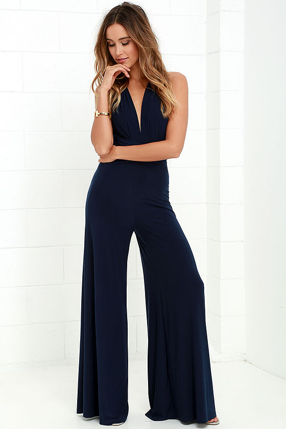 Chic Navy Blue Jumpsuit - Convertible Jumpsuit - Jersey Knit ...