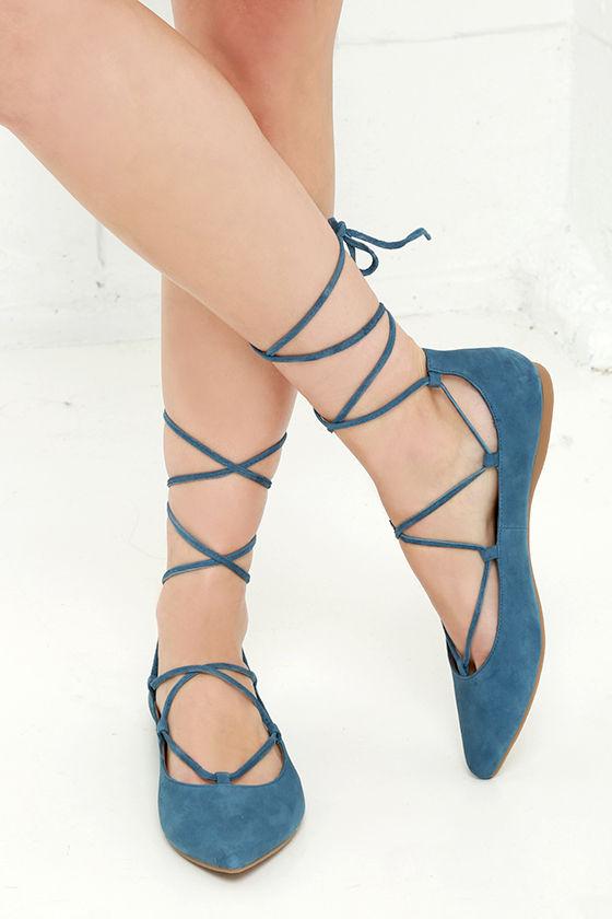 8092b93880b Steve Madden Eleanorr Flats - Blue Flats - Ankle Wrap Flats -  79.00