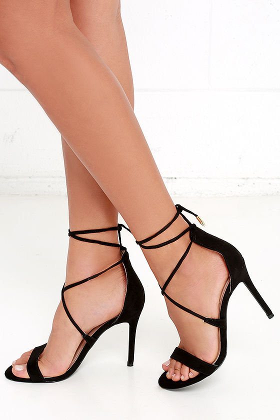 Cute Black Heels - Lace-Up Heels - Caged Heels - $36.00