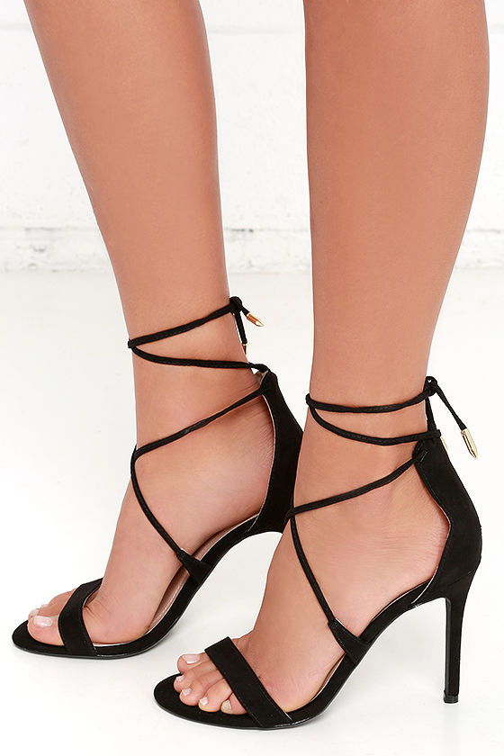 Cute Black Heels - Lace-Up Heels - Caged Heels - $36.00