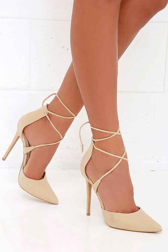 Platform Lace Up Chunky Heels NUDE -SheIn(Sheinside)