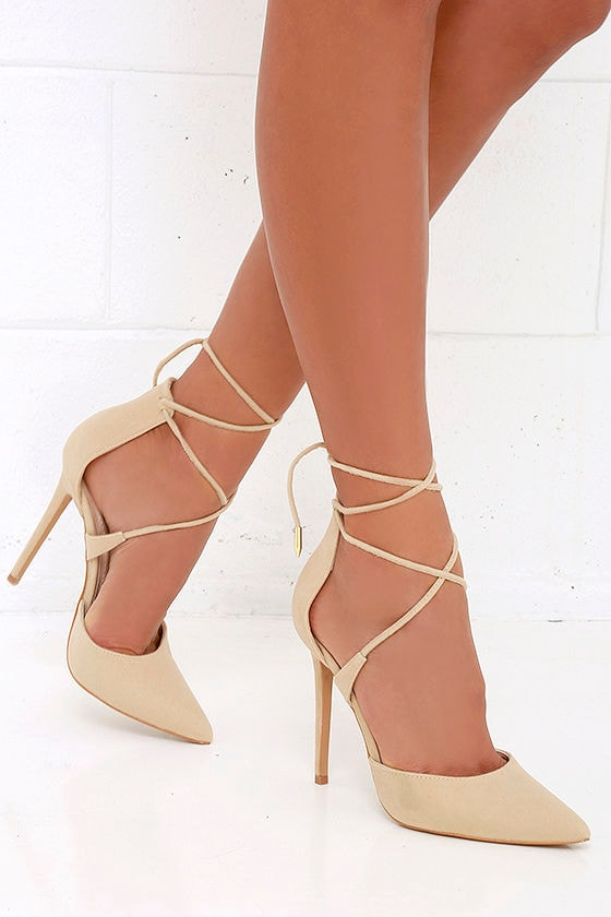 Cute Nude Heels Nude Caged Heels Lace Up Heels