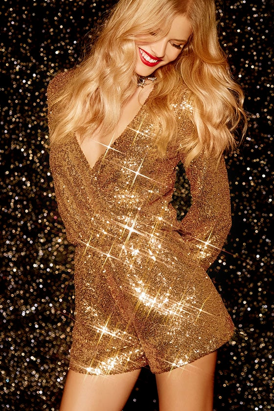 bcd7a1cb35 Gold Romper - Sequin Romper - Long Sleeve Romper -  70.00