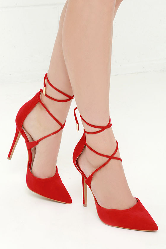 Cute Red Heels - Lace-Up Heels - Caged Heels - $36.00