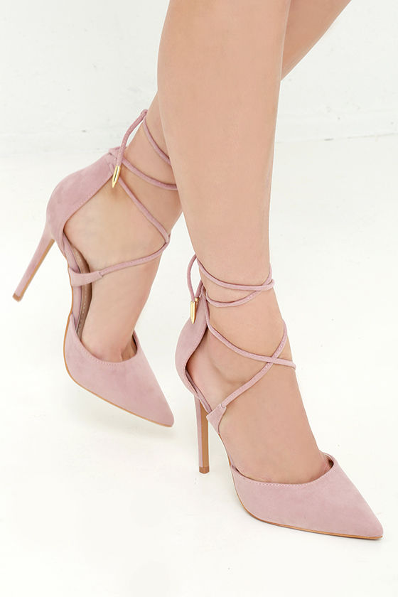Cute Dusty Rose Heels - Lace-Up Heels - Caged Heels - $36.00