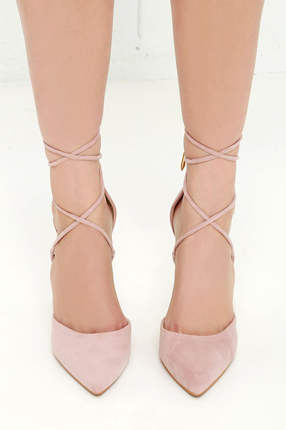 1ed1d18396fdaf Cute Dusty Rose Heels - Lace-Up Heels - Closed Toe Heels