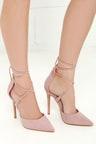 Cute Dusty Rose Heels - Lace-Up Heels - Closed Toe Heels 5a5e9b3fb56b