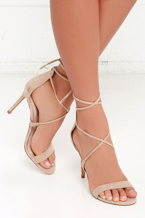 Cute Taupe Heels Lace Up Heels Caged Heels 36 00