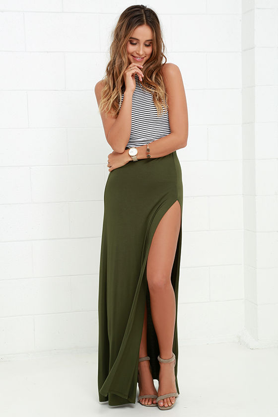 Sexy Olive Green Skirt - Maxi Skirt - Side-Slit Skirt - $38.00