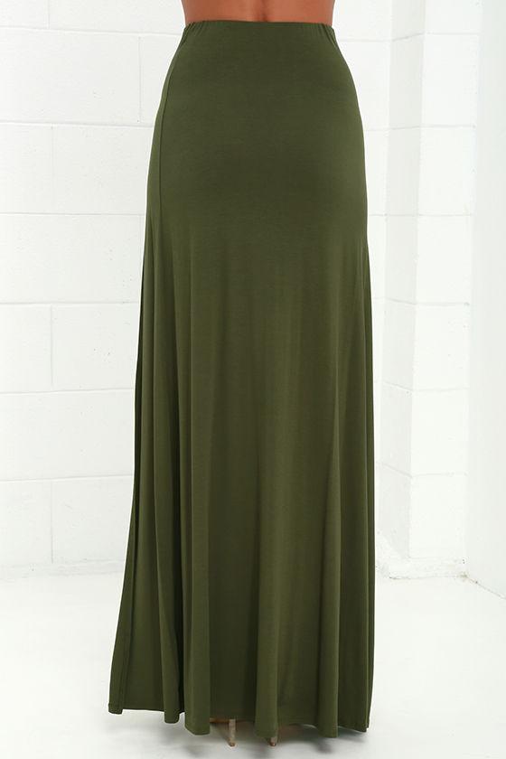 olive green skirt maxi skirt side slit skirt 38 00
