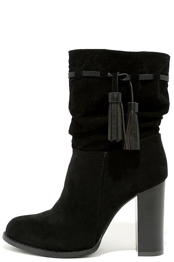 e9af4a8de7 Cute Black Boots - High Heel Boots - Mid-Calf Boots - $47.00
