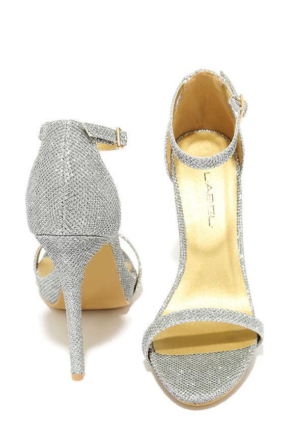 Pretty Silver Heels - Ankle Strap Heels - Dress Sandals - $43.00