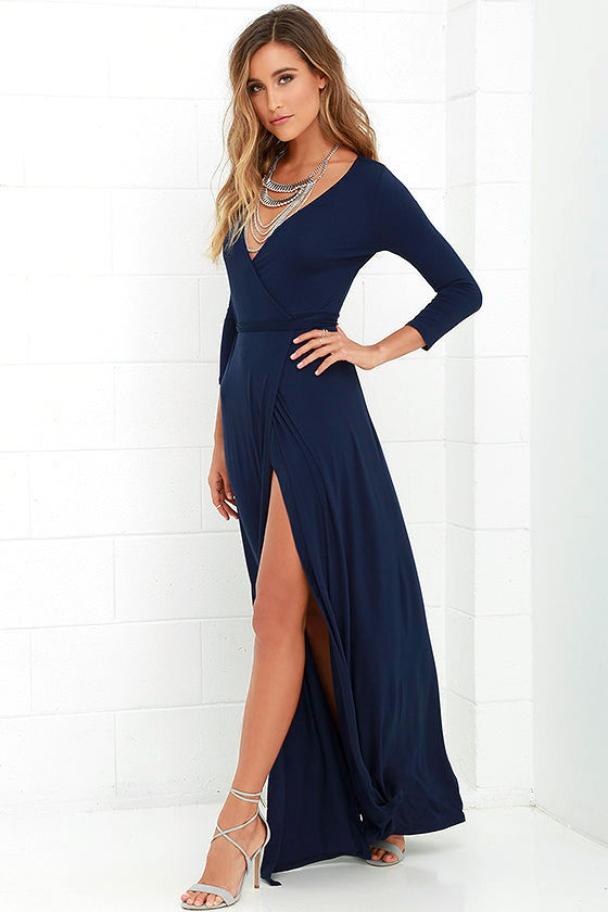 Lovely Navy Blue Maxi Dress - Wrap Dress - Wrap Maxi Dress - $68.00