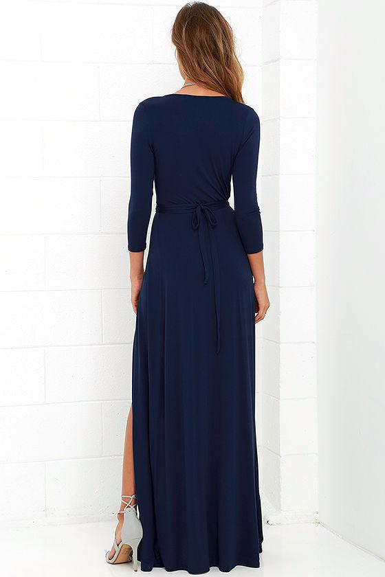 Garden District Navy Blue Wrap Maxi Dress 5