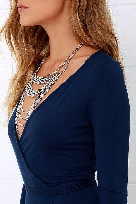 Garden District Navy Blue Wrap Maxi Dress 6