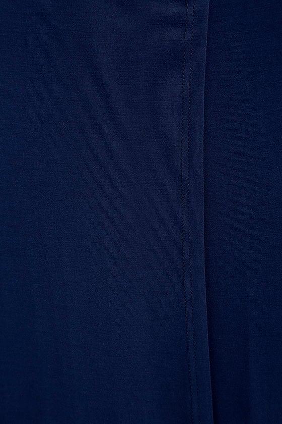 Garden District Navy Blue Wrap Maxi Dress 7