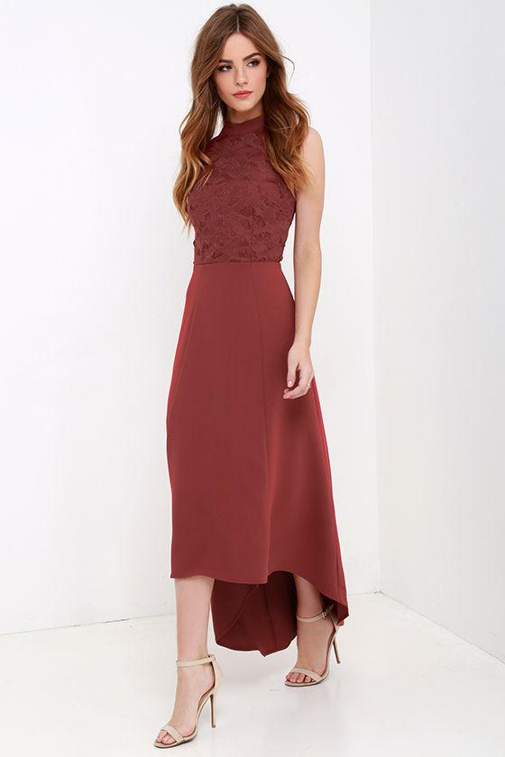 Keepsake All Talk Maroon Lace High-Low Dress