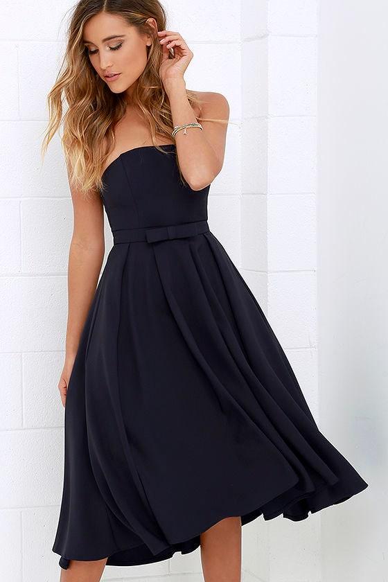 Lovely Midnight Blue Dress - Midi Dress - Strapless Dress - Tulle ...