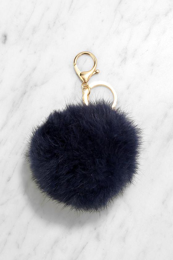 Fun Navy Blue Pompom - Fur Pompom Key Chain -  12.00 f8c83a382