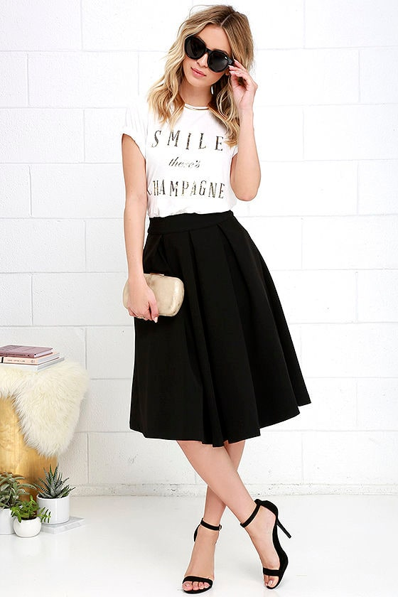 Lovely Black Skirt - Black Midi Skirt - Pleated Midi Skirt - $62.00