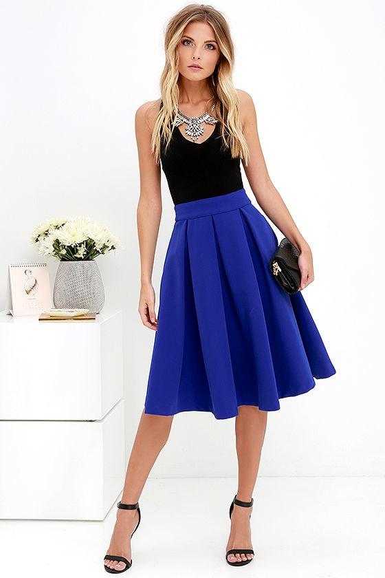 Lovely Royal Blue Skirt - Blue Midi Skirt - Pleated Midi Skirt ...