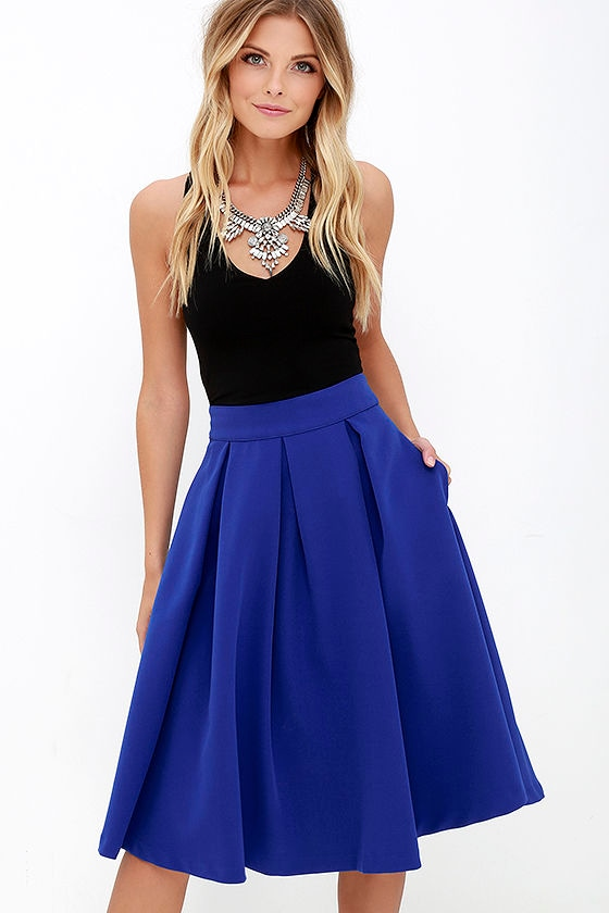 Lovely Royal Blue Skirt - Blue Midi Skirt - Pleated Midi Skirt ...