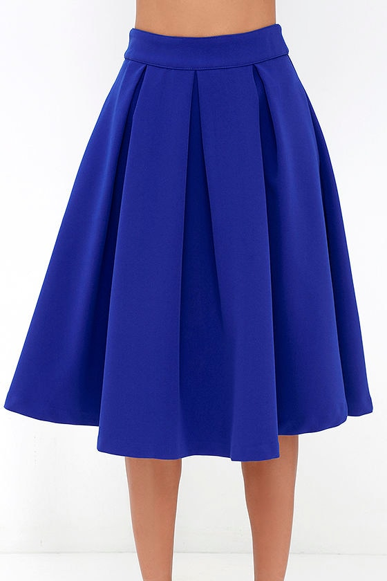 lovely royal blue skirt blue midi skirt pleated midi