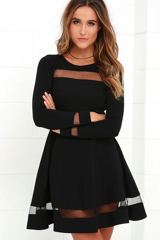 Sheer Leader Black Mesh Skater Dress 1