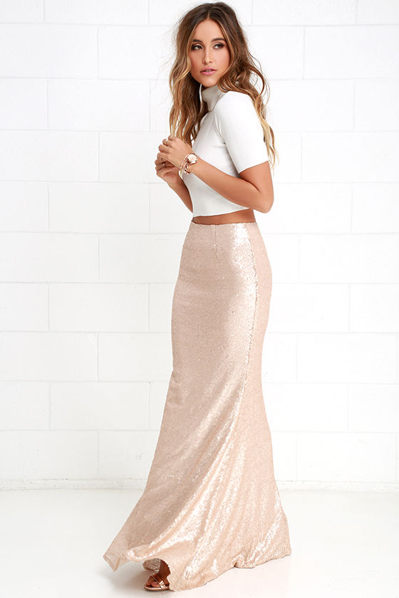Matte Gold Skirt - Sequin Skirt - Mermaid Skirt - Maxi Skirt - $82.00