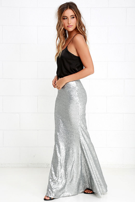Matte Silver Skirt - Sequin Skirt - Mermaid Skirt - Maxi Skirt ...