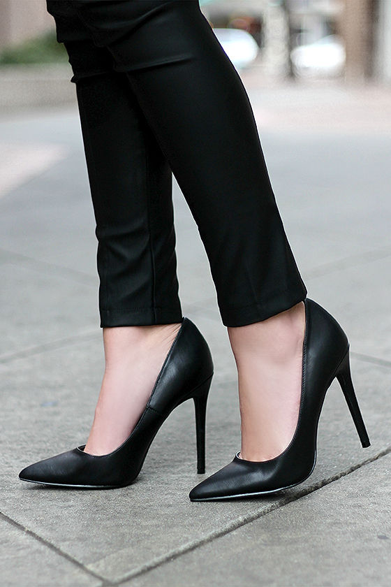 Pretty Black Pumps - Pointed Pumps - Black Heels - $34.00