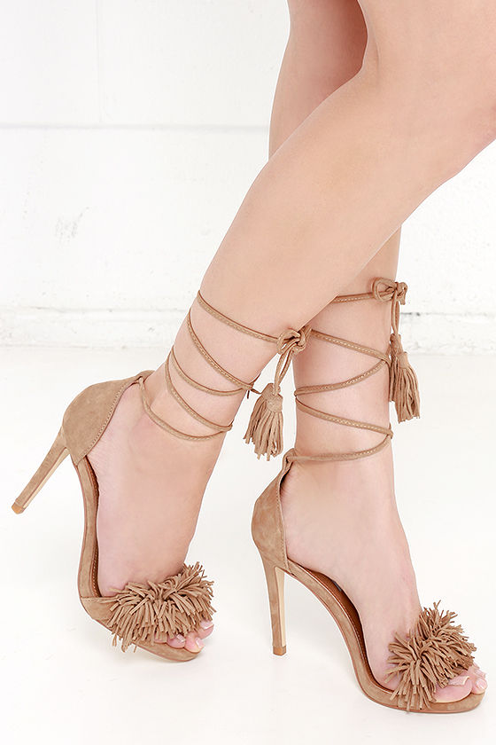 0c0799eabe5 Steve Madden Sassey Blush Suede Leather Lace-Up Heels