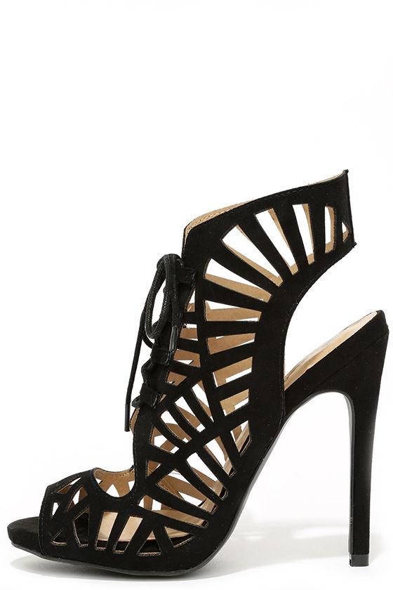 b7b729e09843 Sexy Black Heels - Cutout Heels - Lace-Up Heels - Caged Heels -  34.00