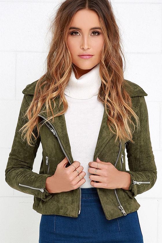 Suede Jacket - Moto Jacket - Olive Green Jacket - $95.00