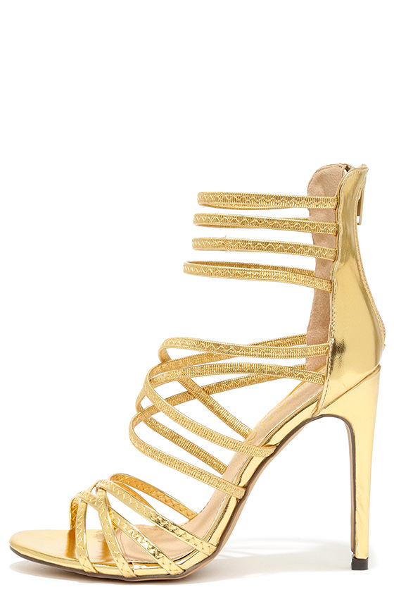Sexy Gold Heels - Caged Heels - Dress Sandals - $32.00